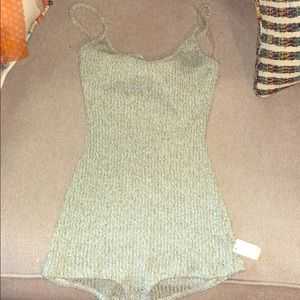 Green and cream stretchy romper